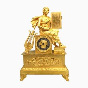 Pendule Empire en Bronze Doré, 19ème Siècle