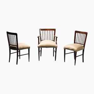 Sedie da ufficio vintage in legno e pelle, anni '50, set di 3