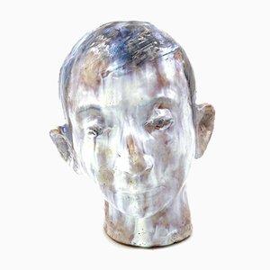 Glazed Terracotta Boy Head, France, 1958