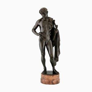 Orfeo, escultura antigua de bronce de un desnudo masculino con lira y capa, profesor George Mattes, 1900