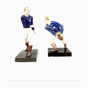 Rugby Players Sculptures by Willy Wuilleumier for G.A.M., France, 1940, Set of 2