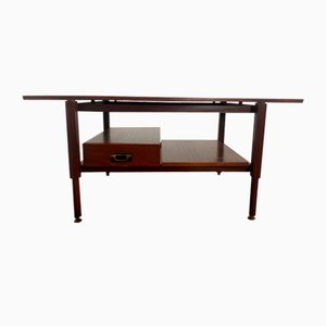 Teak Coffee Table with Drawer and Brass Details, 1960s