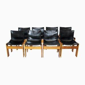 Vintage Esszimmerstühle aus Nussholz & Leder von Tobia Scarpa für Molteni, Italien, 1970er, 8er Set