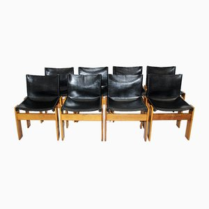 Vintage Walnut and Leather Dining Chairs by Tobia Scarpa for Molteni, Italy, 1970s, Set of 8