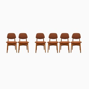 Beech Chairs with Teak Backrest, 1960s, Set of 6