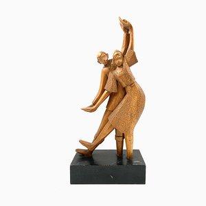Escultura cubista Art Déco de madera, Pierrot & Colombine, años 40