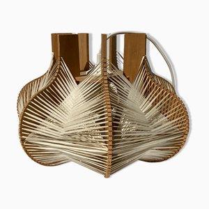 Gewebte Wabi Sabi Deckenlampe mit Holzgestell
