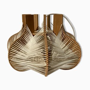 Woven Wabi Sabi Ceiling Lamp with Wooden Structure