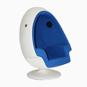 Vintage Space Age Blue and White Egg Chair, 1970s