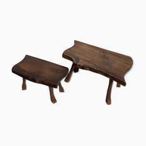 Brutalist Wabi Sabi Tree Pull-Out Tables, Set of 2