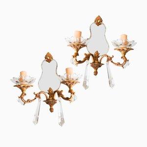 Apliques franceses de bronce y espejo. Juego de 2