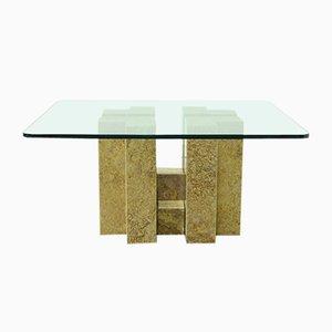 Base de mesa de mármol veteado amarillo, años 80. Juego de 5