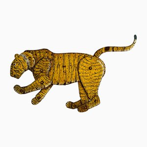 Large Antique Steel Tiger on Stand, India