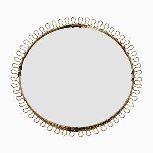 Vintage Round Brass Sunburst Wall Mirror, 1970s