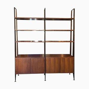 Black Iron Rod Uprights & Mahogany Bookcase with Brass Feet, 1950s