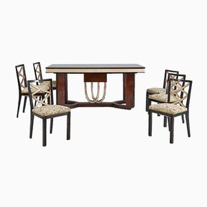 Art Deco Dining Room Set, Italy, 1930s, Set of 11