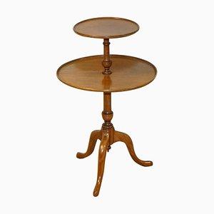 Großer runder zweistufiger viktorianischer Queen Anne Dumbwaiter Tisch aus Hartholz, 1880er