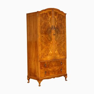 Vintage Burr Walnut 2-Door Wardrobe with Queen Anne Legs
