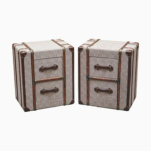 Grey Fabric Bedside Tables with Wood & Leather Detail in the Style of Timothy Oulton, Set of 2