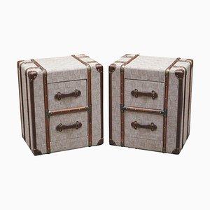 Tables de Chevet en Tissu Gris avec Détails en Bois et Cuir dans le Style de Timothy Oulton, Set de 2