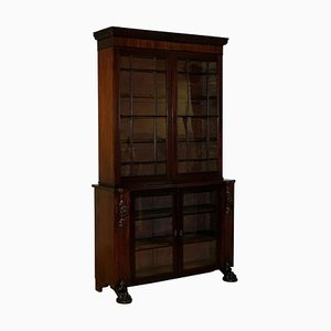 Victorian Hardwood Bookcase with Lion Carving, Claw Feet and Glass Doors