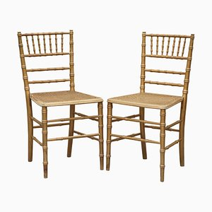 Edwardian Giltwood Famboo Regency Style Bergere Chairs with Gold Gilding, Set of 2