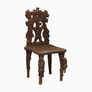 Vintage Handgeschnitzter Schwarzwälder Bärenstuhl aus Holz mit Bären, die auf die Beine klettern