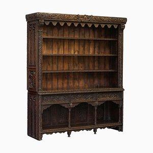 Gothic Revival 17th Century Panel Bookcase