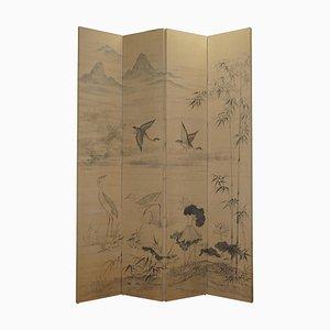 Chinesischer Vintage Raumteiler mit handbemaltem Aquarell auf Stoff