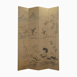 Vintage Chinese Folding Room Divider with Handpainted Watercolor on Fabric