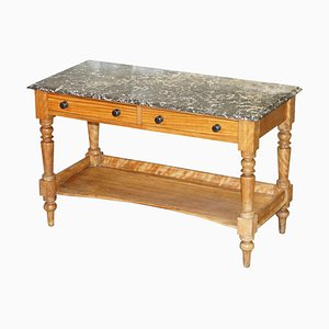 Victorian Marble Topped Satinwood Console or Writing Desk, 1880s