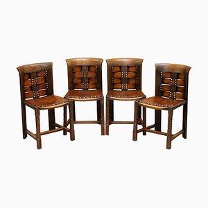 Eichenholz & Leder Stühle von Charles Rennie Mackintosh, 4er Set