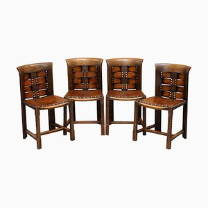 Oak & Leather Chairs by Charles Rennie Mackintosh, Set of 4