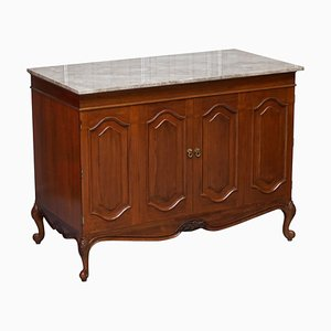 Very Large French Cherrywood Cabinet with Solid Marble Top
