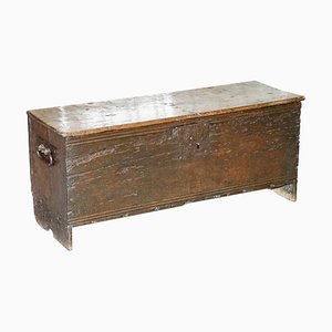 18th Century Solid Oak 6-Plank Trunk or Chest with Iron Handle