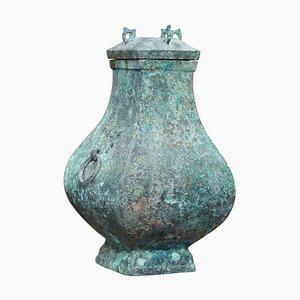 Chinese Bronze Ritual Wine Vessel Jug & Cover