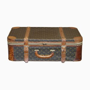 Vintage Brown Leather & Bronze Strapped Monogram Suitcases from Louis Vuitton