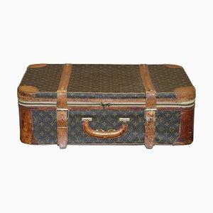Vintage Monogramm Koffer aus Braunem Leder & Bronze von Louis Vuitton