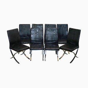 Chrome & Black Faux Crocodile Leather Dining Chairs, Set of 8