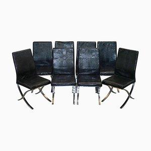 Esszimmerstühle aus Chrom & schwarzem Kunstleder, 8er Set