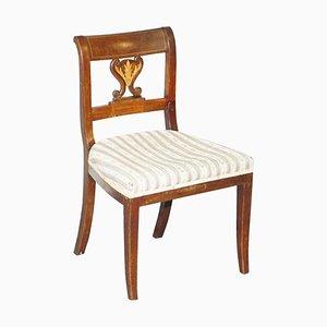 Französischer Beistellstuhl aus Nussholz mit Intarsien, 19. Jh