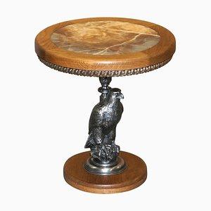 Versilberter Amerikanischer Adler mit Beistelltisch mit Marmorplatte