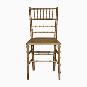 Edwardianischer Stuhl aus vergoldetem Kunstbambus im Regency Stil