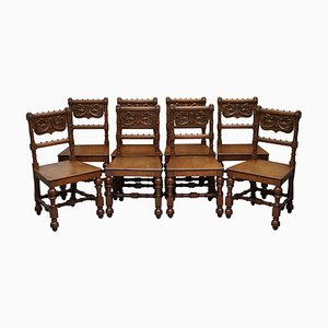 Hand Carved Walnut Gothic Revival Dining Chairs, 1840s, Set of 8