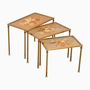 French Bronze Pressed Nesting Tables, 1920s, Set of 3