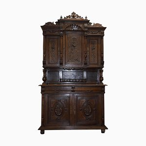 Dutch Hand-Carved Solid Oak Cupboard with Drawers