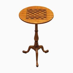Table d'Échecs Victorienne en Noyer et Bois Dur avec Incrustation