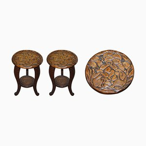 Carved Three Monkeys Side Tables from Liberty London, Set of 2