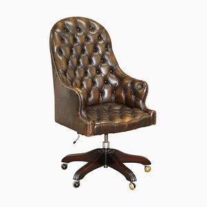 Chaise de Capitaine Chesterfield Vintage en Cuir Marron avec Tissu d'Ameublement Wade