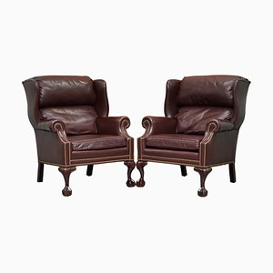 Hardwood Brown Leather Wingback Armchairs from Hancock & Moore, Set of 2